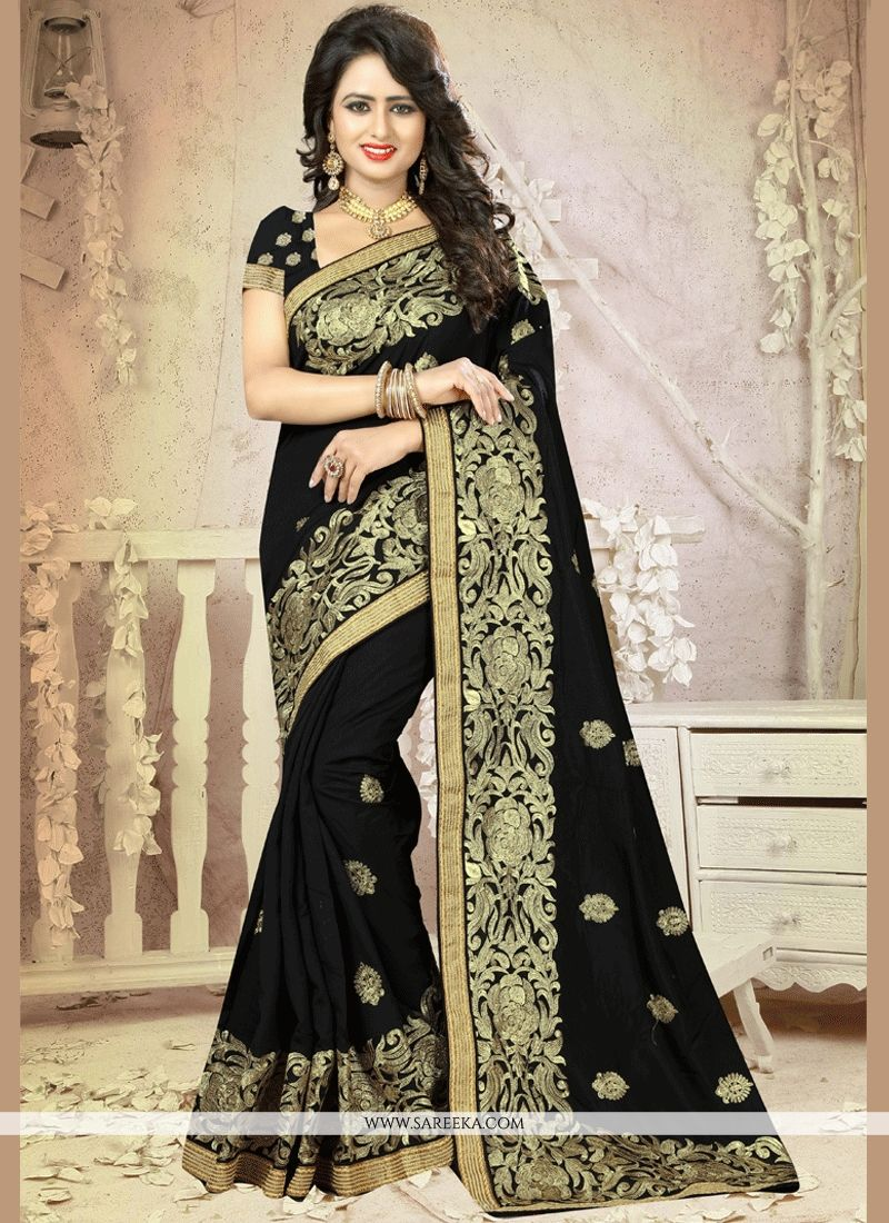 Lace Work Black Traditional  Saree