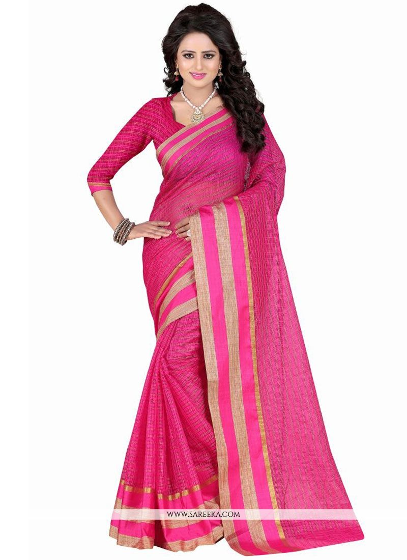 Polly Cotton Hot Pink Patch Border Work Casual Saree