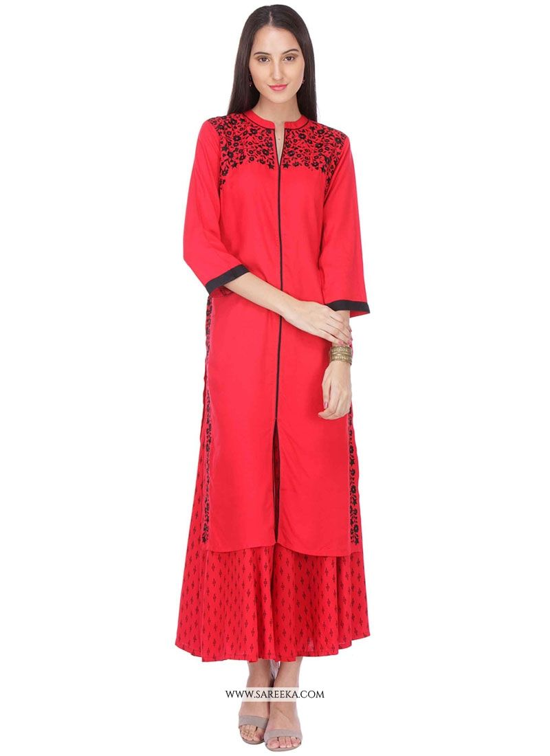 Rayon Red Print Work Party Wear Kurti