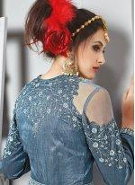 Resham Work Blue Net Designer Floor Length Suit