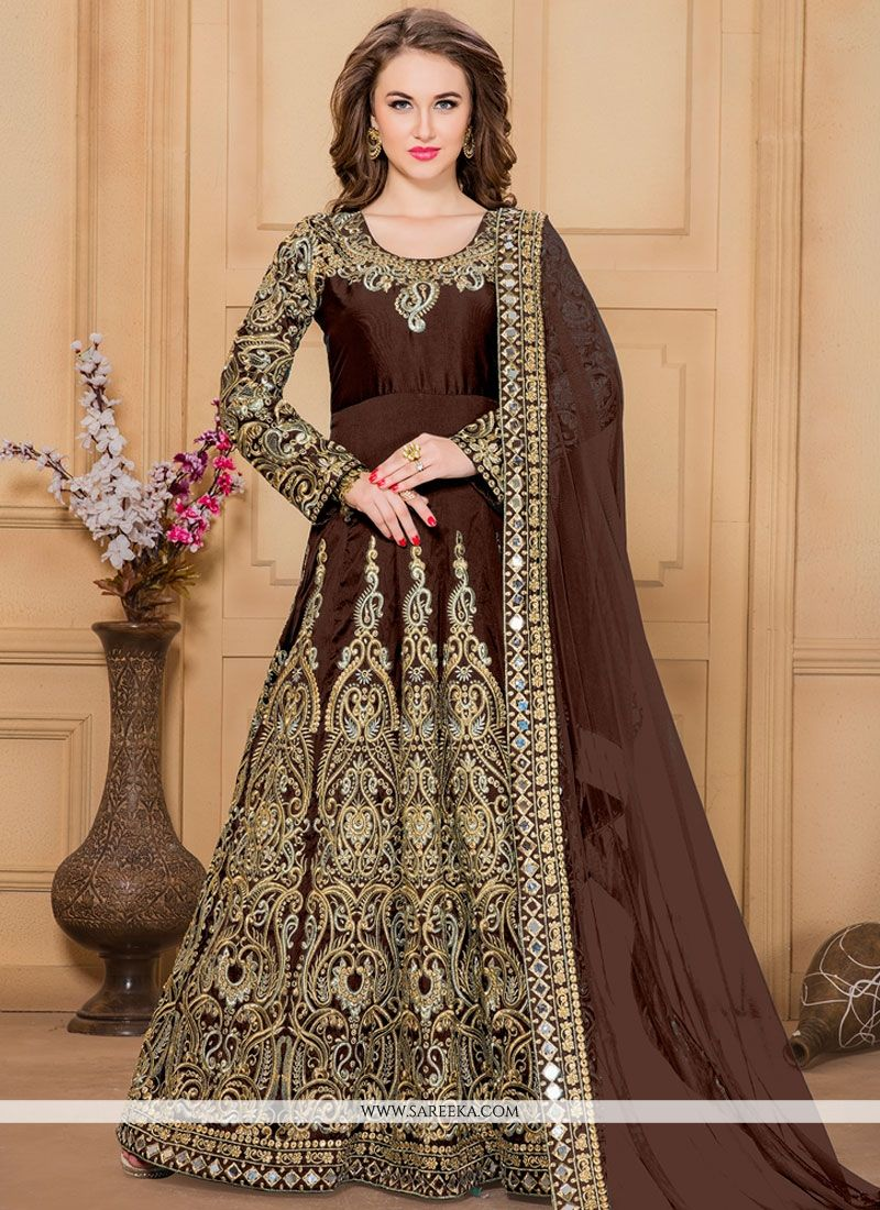Tafeta silk Resham Work Designer Floor Length Suit