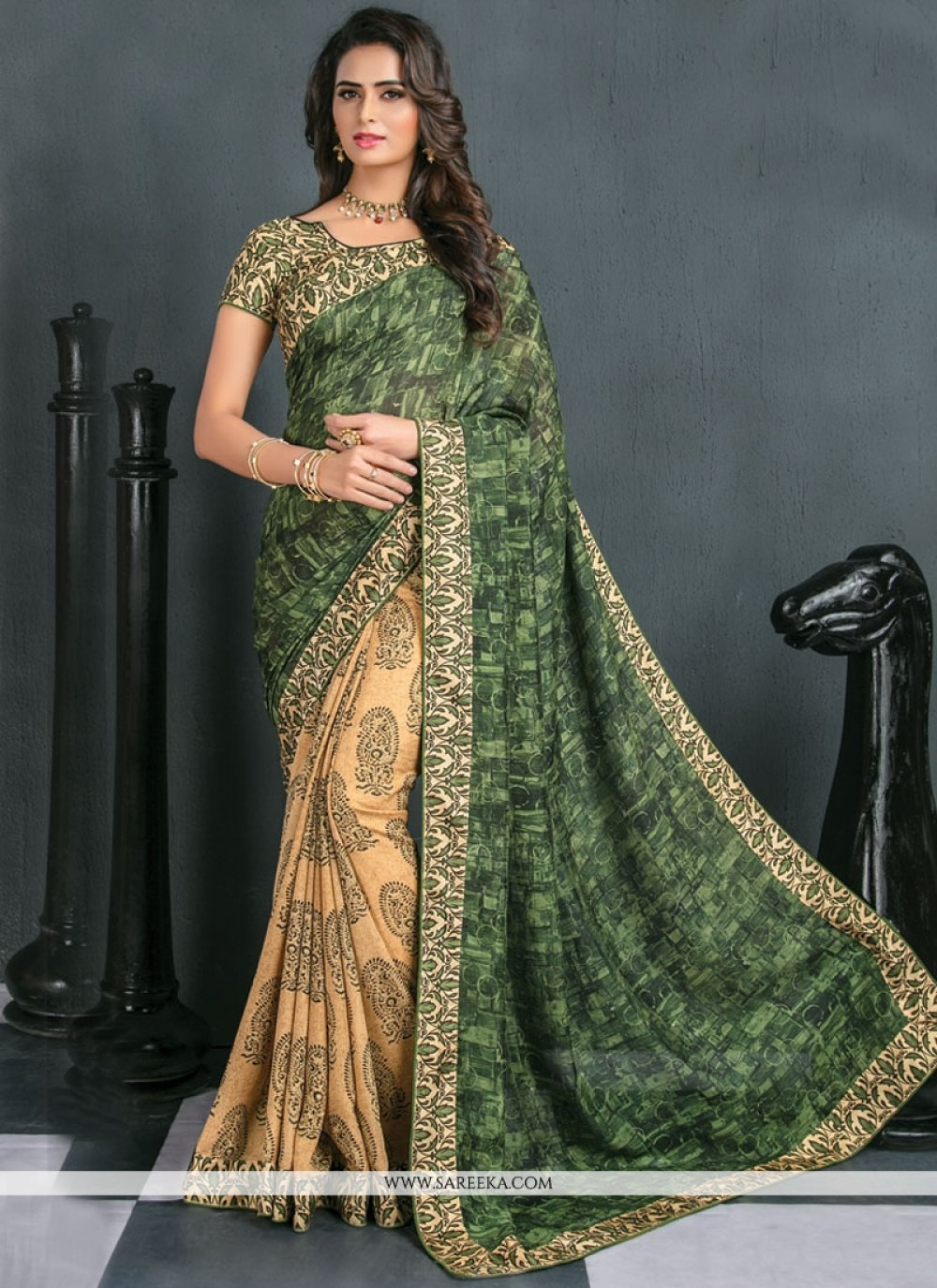 Beige and Green Art Silk Traditional  Saree