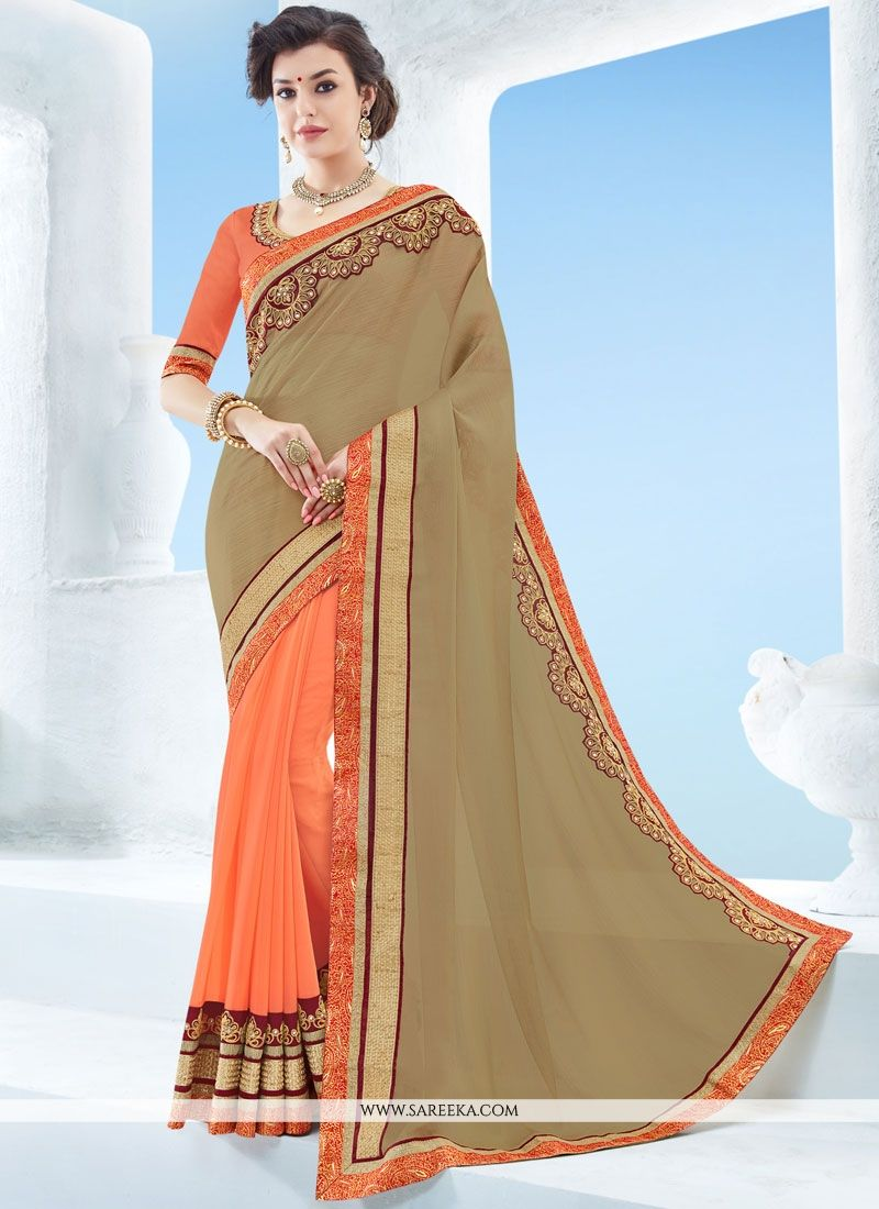 Faux Chiffon Beige and Orange Embroidered Work Designer Half N Half Saree