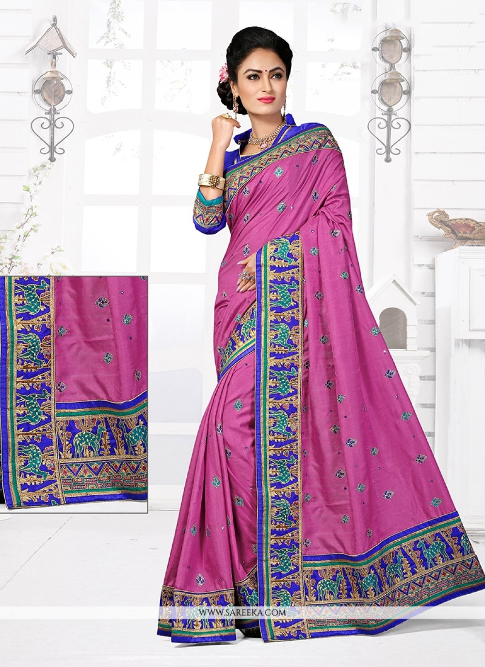 Manipuri Silk Pink Designer Traditional Saree