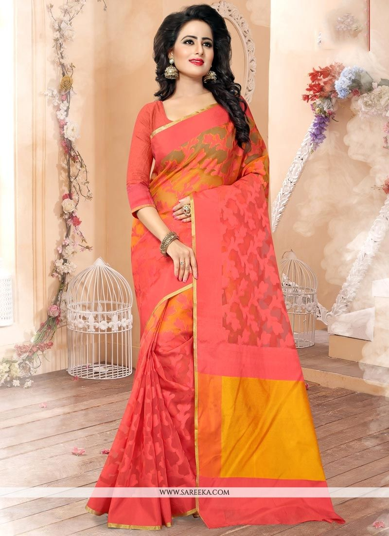 Rose Pink Weaving Work Banarasi Silk Designer Traditional Saree