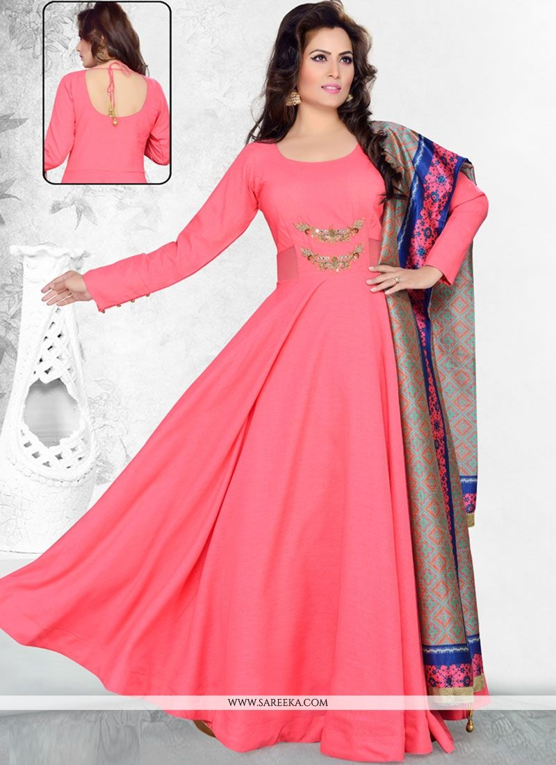 Buy Raw Silk Hot Pink Anarkali Suit Online at lowest price -