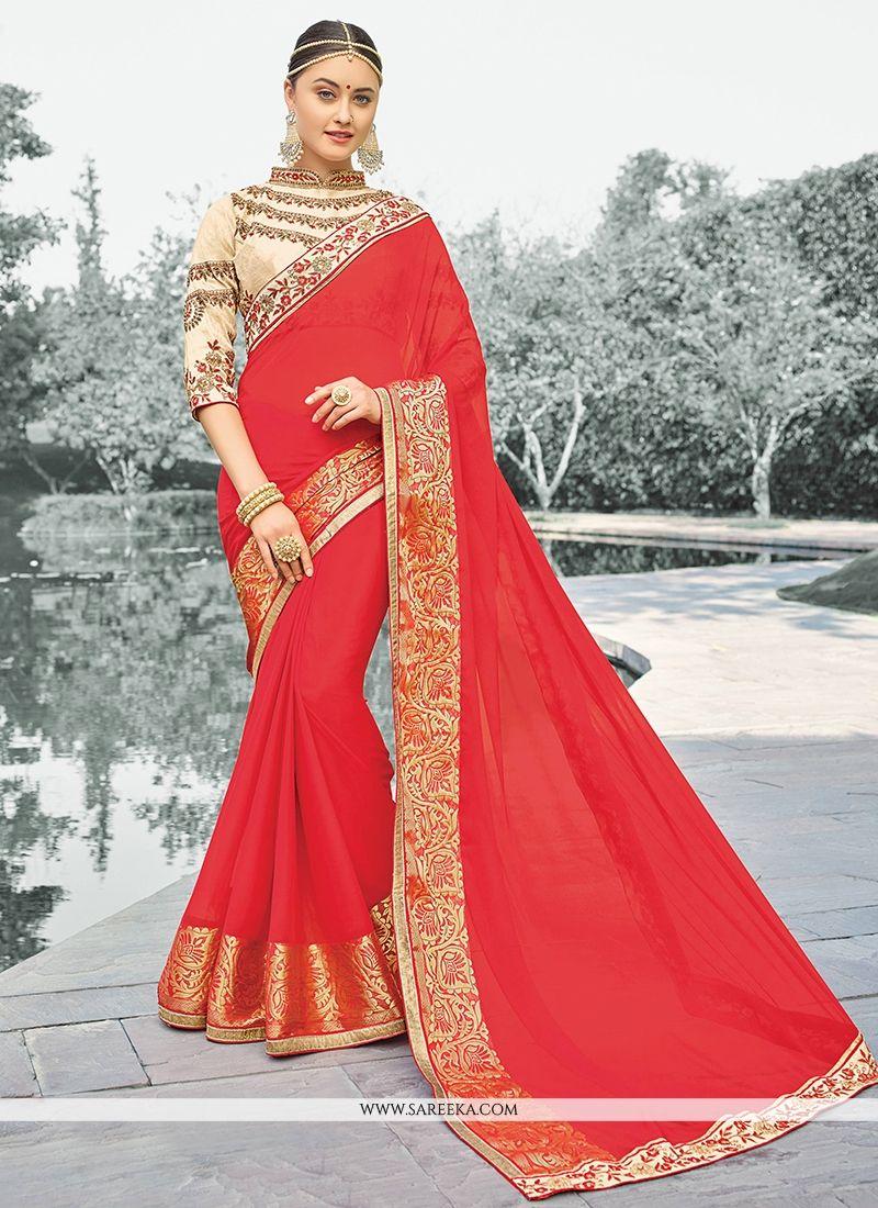 Viscose Red Zari Work Classic Designer Saree