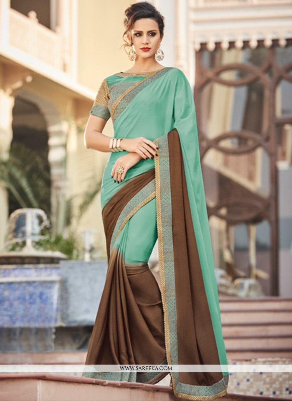 Faux Georgette Brown and Sea Green Patch Border Work Saree