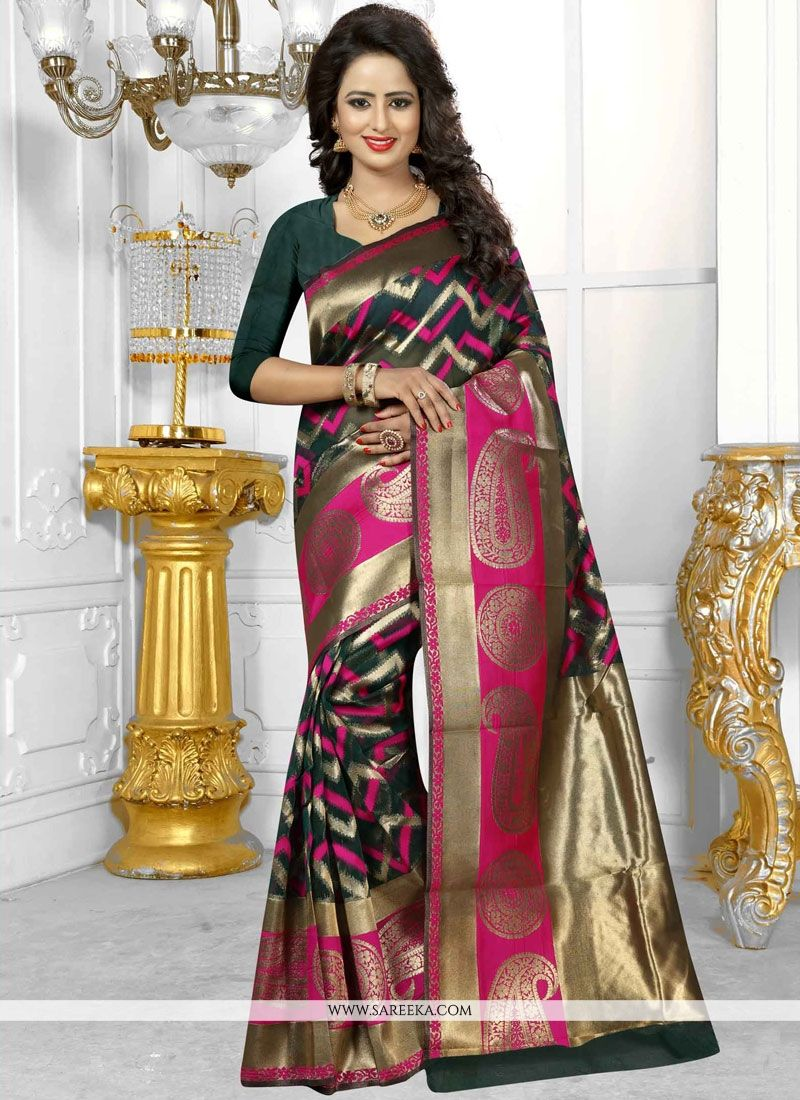 Banarasi Silk Green Weaving Work Traditional Designer Saree