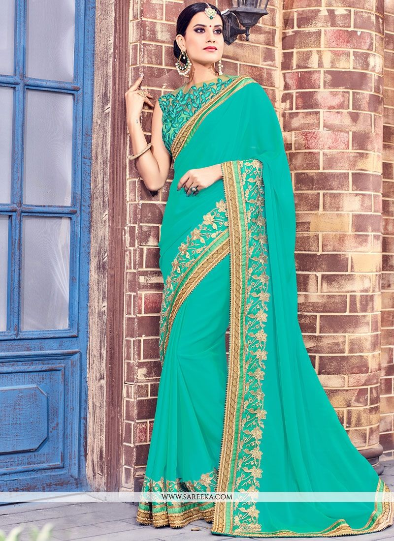 Fancy Fabric Blue Designer Saree