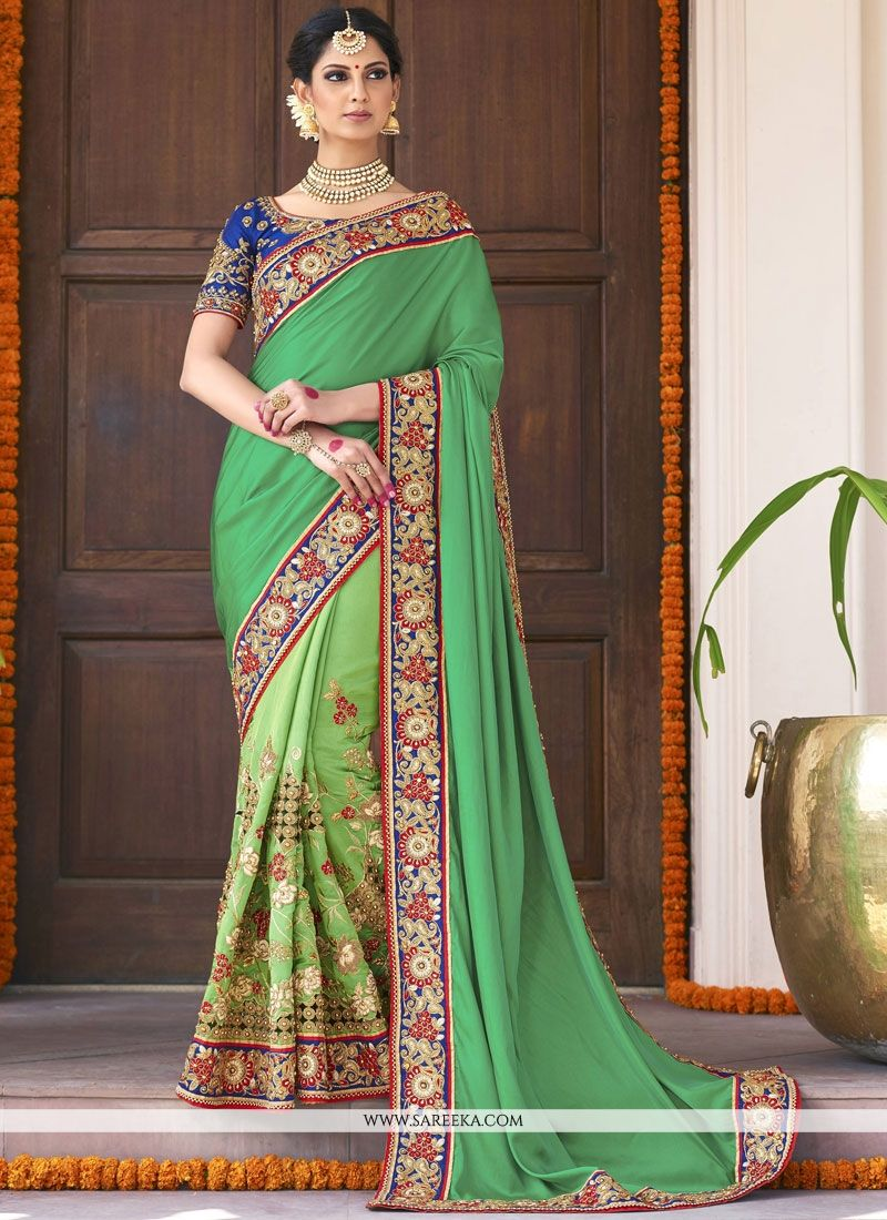 Fancy Fabric Sea Green Embroidered Work Designer Bridal Sarees
