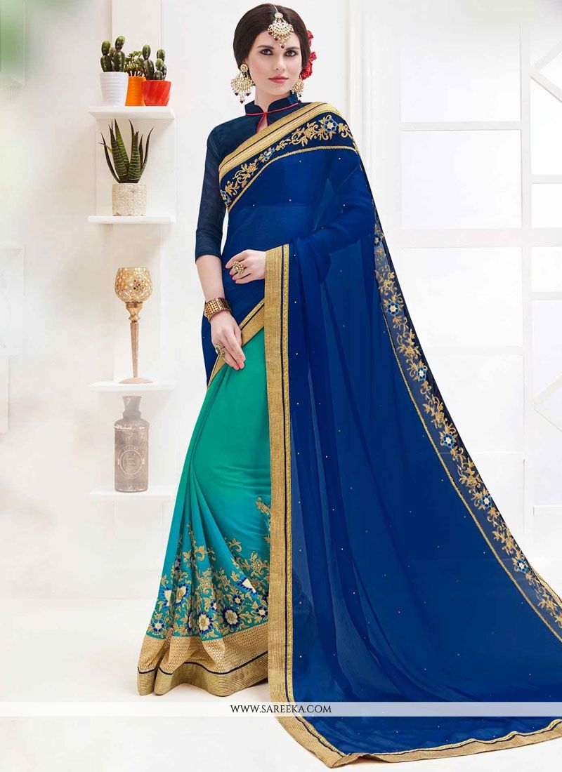 Faux Georgette Navy Blue and Sea Green Patch Border Work Half N Half  Saree
