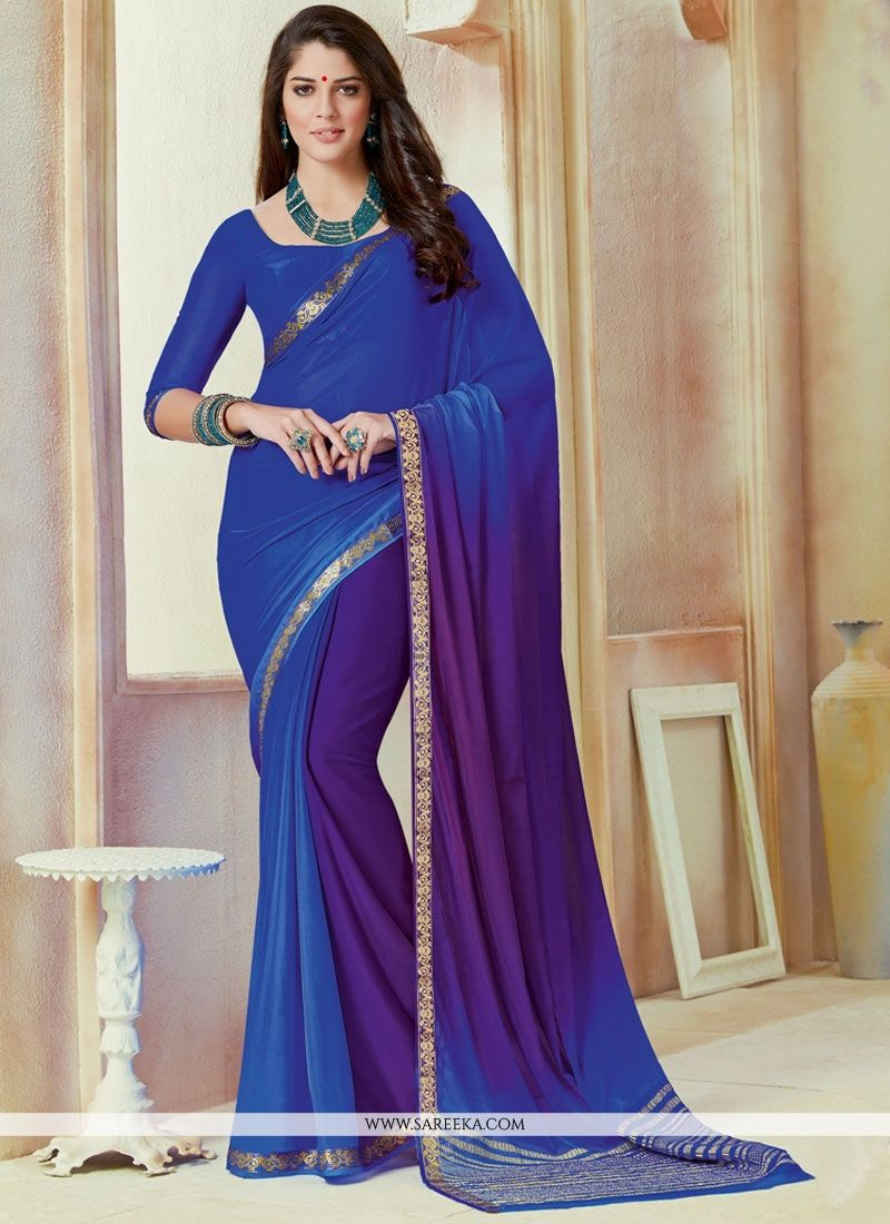 Lace Work Faux Chiffon Shaded Saree