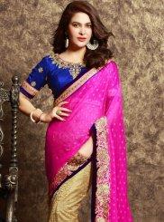 Net Beige and Hot Pink Lace Work Half N Half Designer Saree