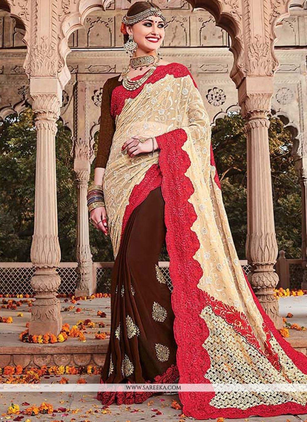 Net Embroidered Work Designer Half N Half Saree