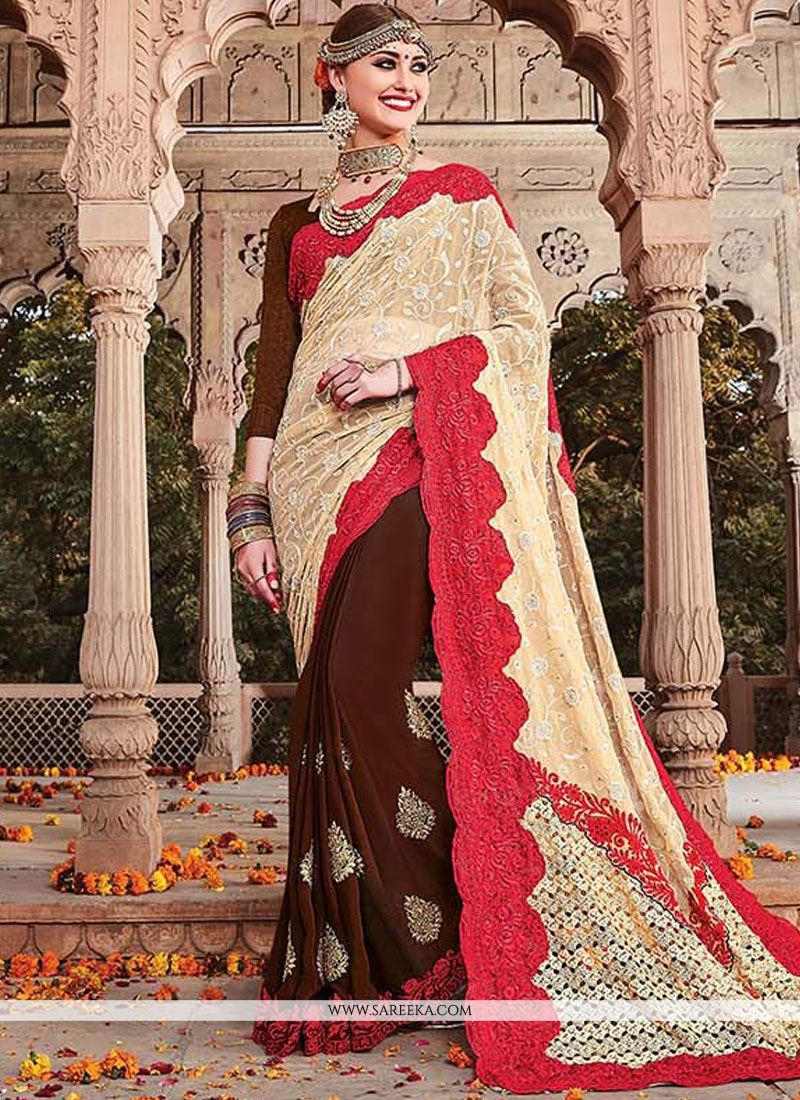 Net Embroidered Work Designer Half N Half Saree