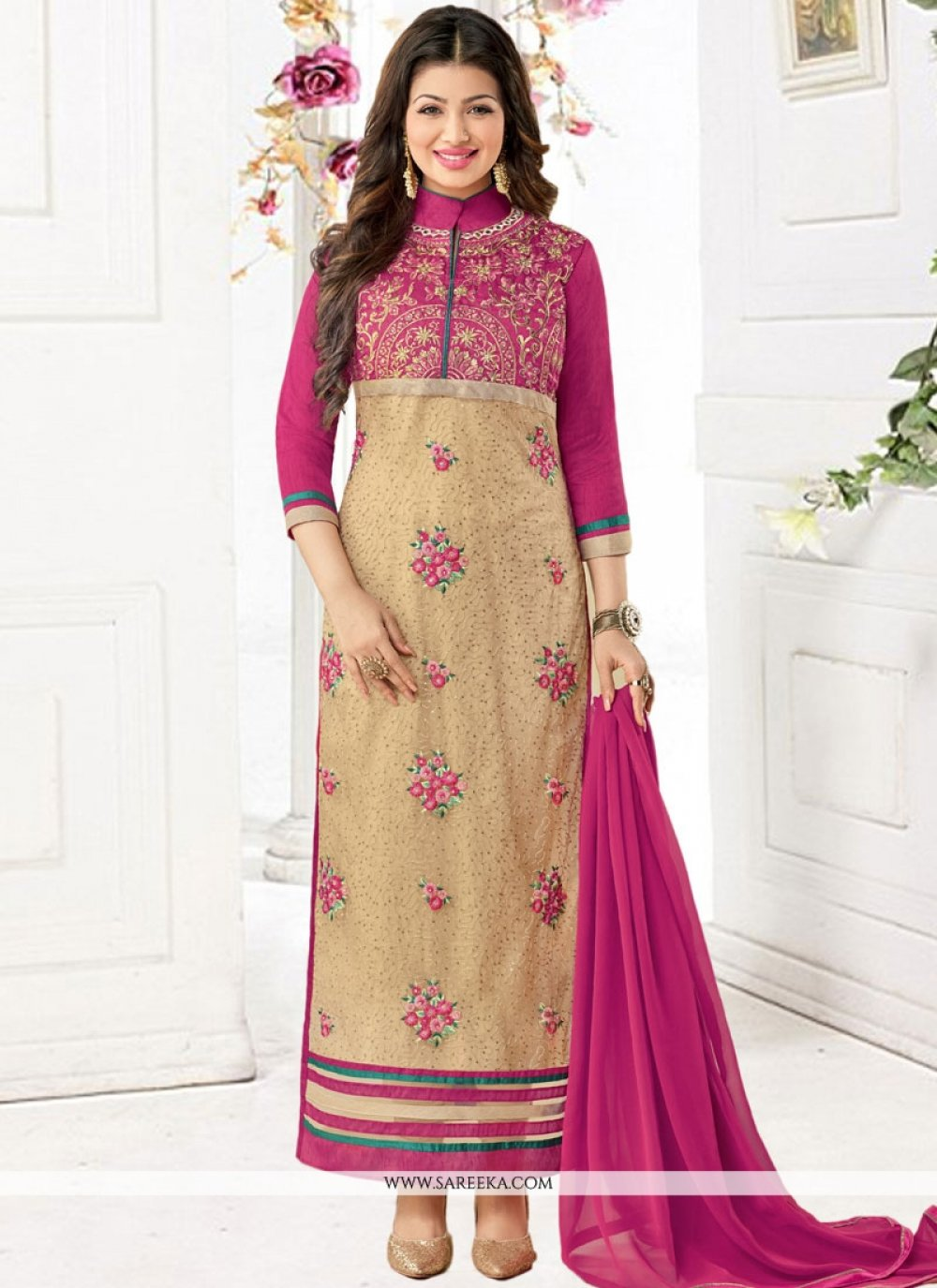 Ayesha Takia Beige and Hot Pink Faux Georgette Embroidered Work Churidar Designer Suit