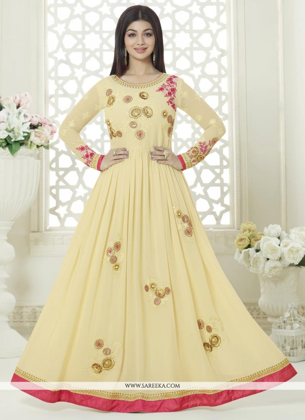 Ayesha Takia Cream Floor Length Anarkali Suit