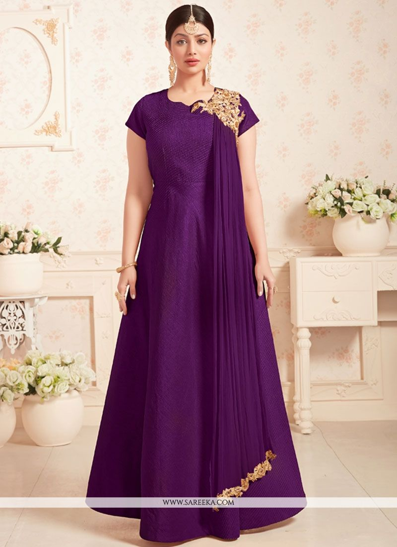 Buy Ayesha Takia Embroidered Work Art Silk Designer Floor Length ...