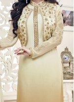 Ayesha Takia Embroidered Work Beige and Cream Jacket Style Suit