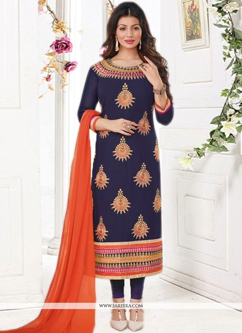 Ayesha Takia Embroidered Work Navy Blue Churidar Designer Suit