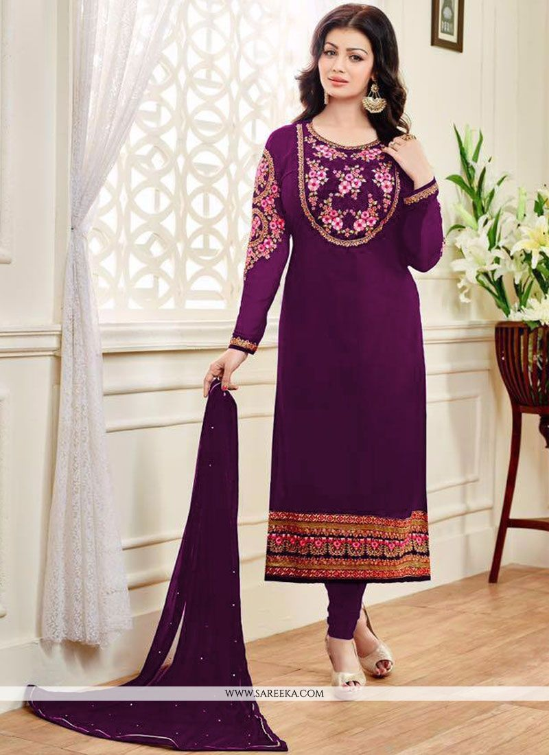 Ayesha Takia Embroidered Work Purple Churidar Designer Suit