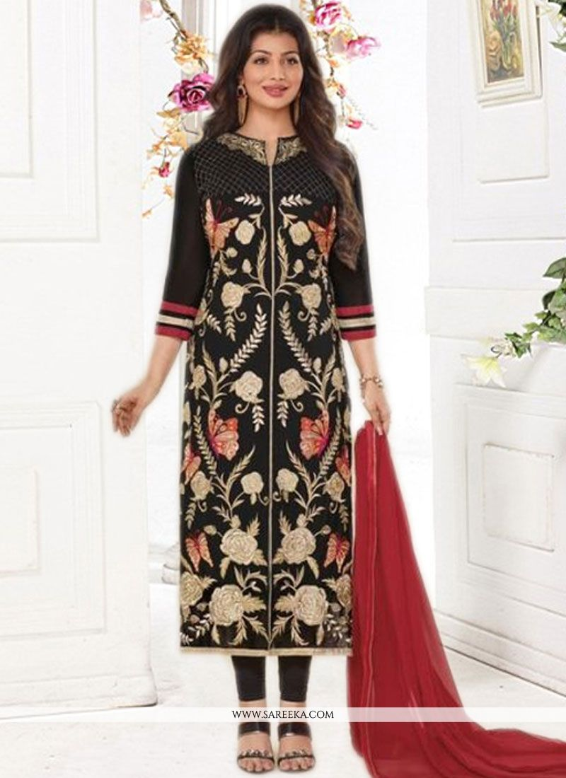 Ayesha Takia Faux Georgette Black Churidar Designer Suit