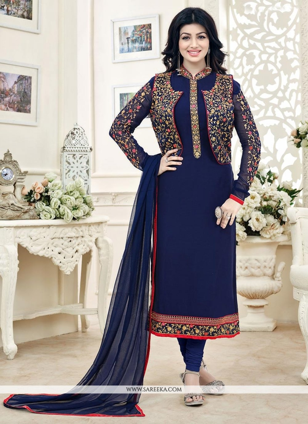 Ayesha Takia Faux Georgette Lace Work Jacket Style Suit