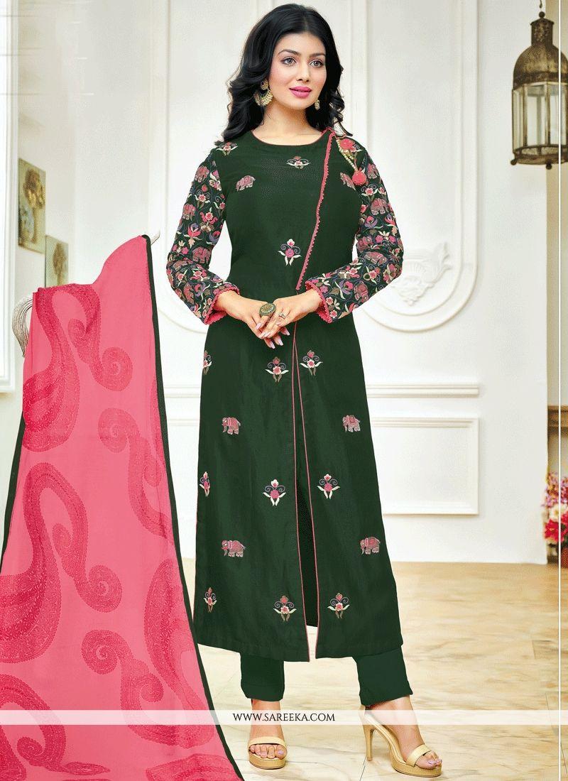 Ayesha Takia Green Embroidered Work Churidar Designer Suit