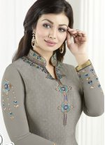 Ayesha Takia Grey Embroidered Work Churidar Designer Suit