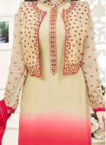 Ayesha Takia Lace Work Cream and Hot Pink Jacket Style Suit