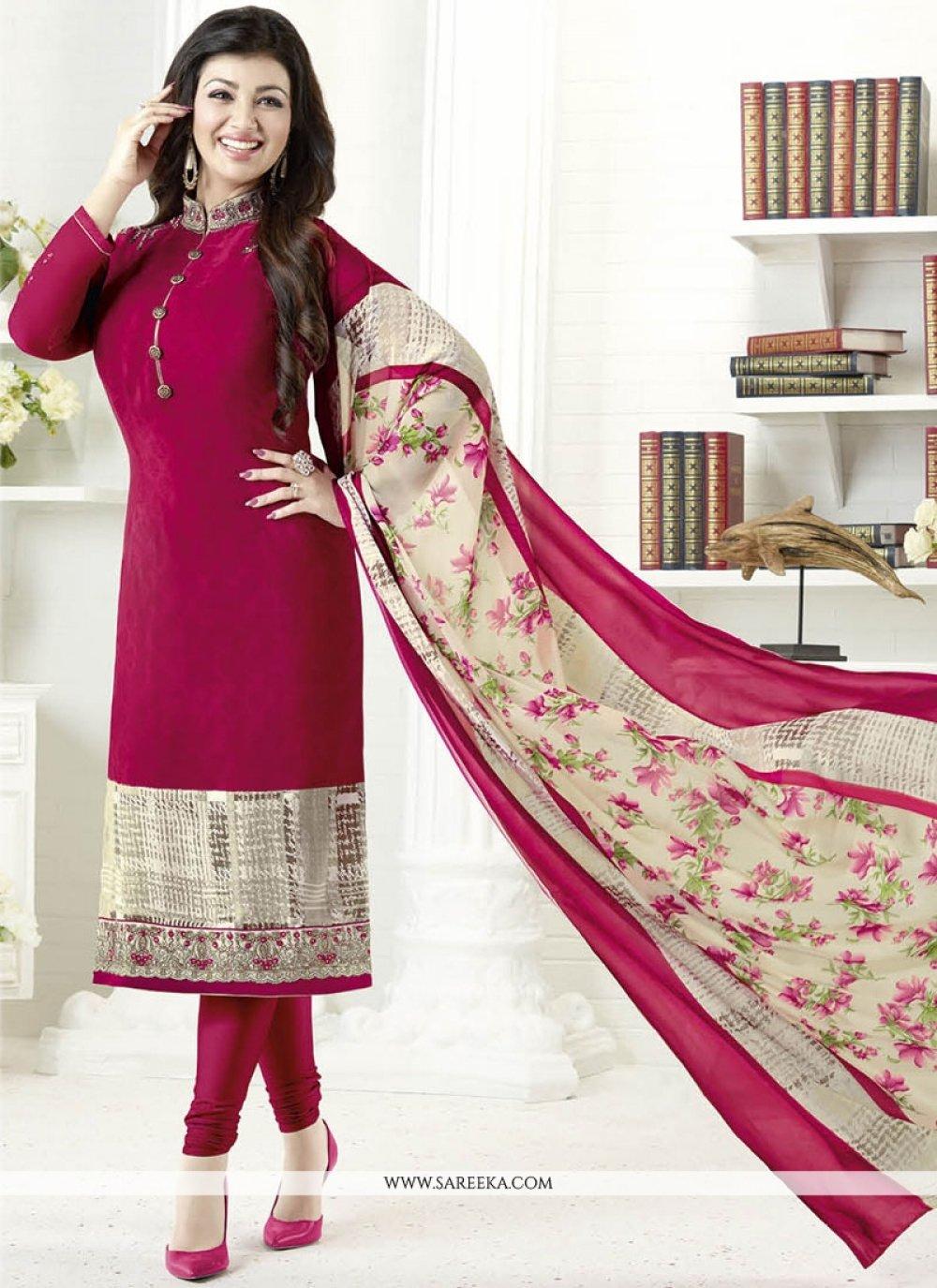 Ayesha Takia Maroon Embroidered Work Churidar Designer Suit