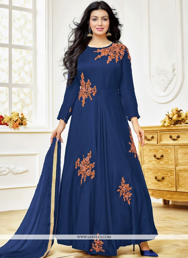 Ayesha Takia Navy Blue Lace Work Anarkali Suit
