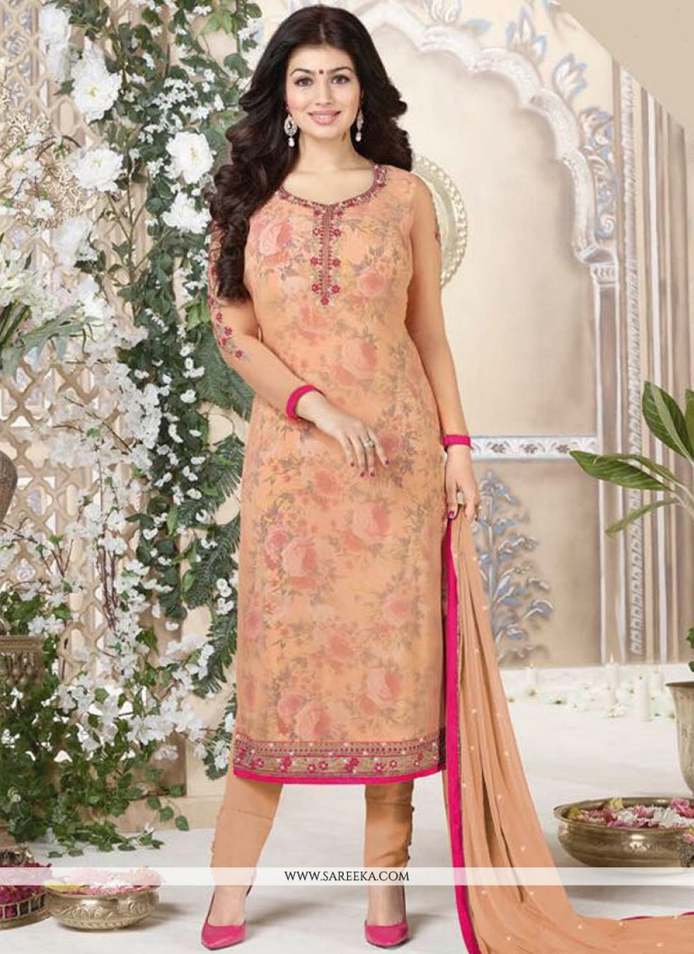 Ayesha Takia Orange Churidar Suit