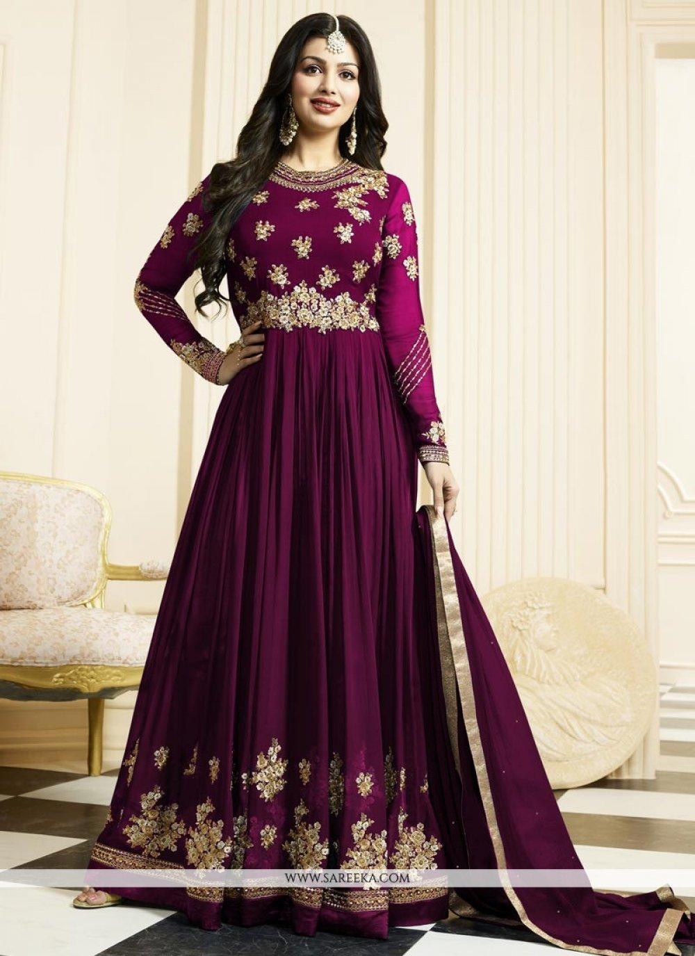 Ayesha Takia Purple Floor Length Anarkali Suit