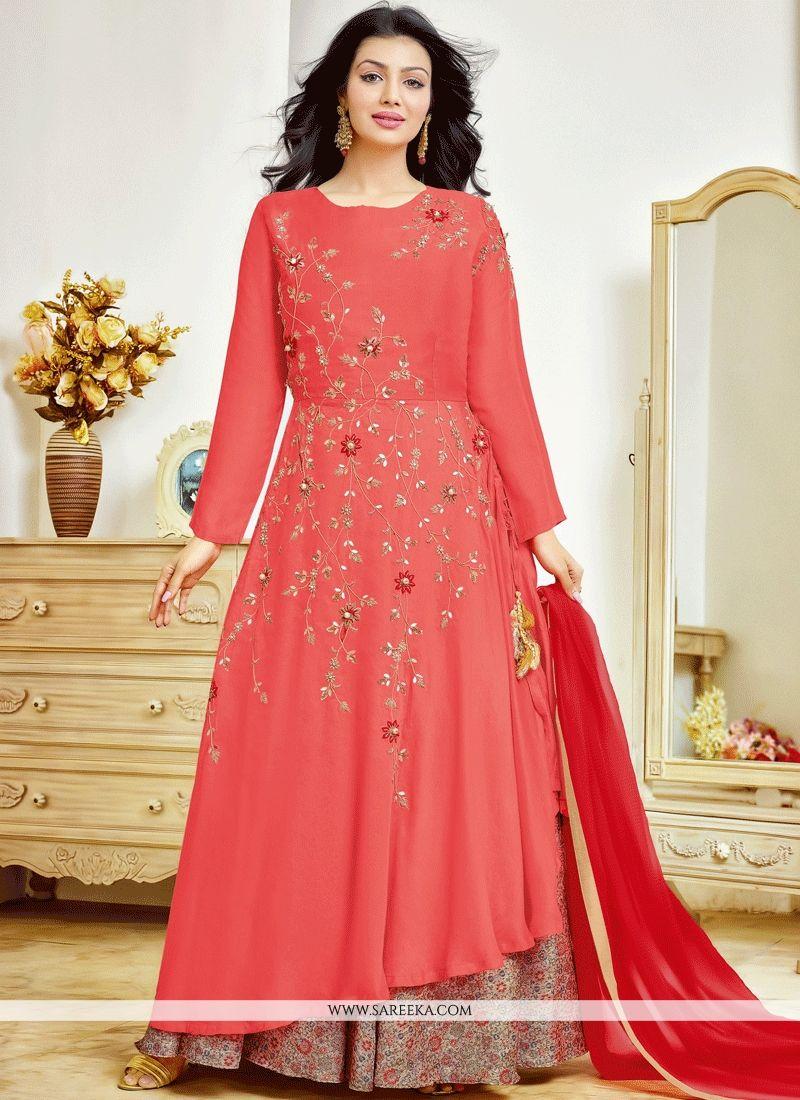 Ayesha Takia Red and Rose Pink Cotton   Long Choli Lehenga