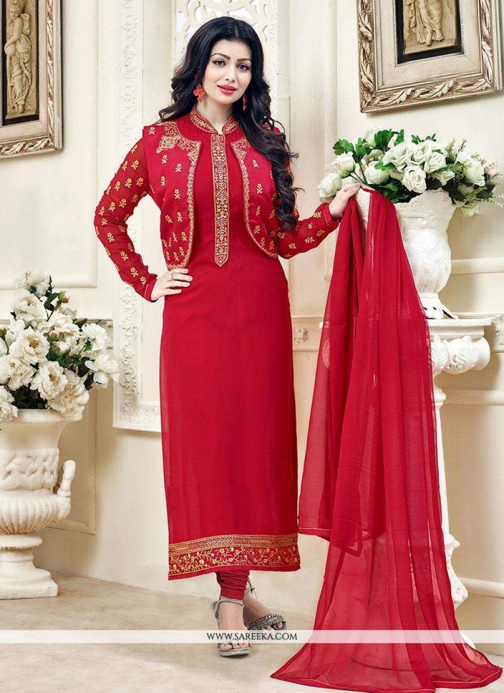 Ayesha Takia Red Lace Work Jacket Style Suit
