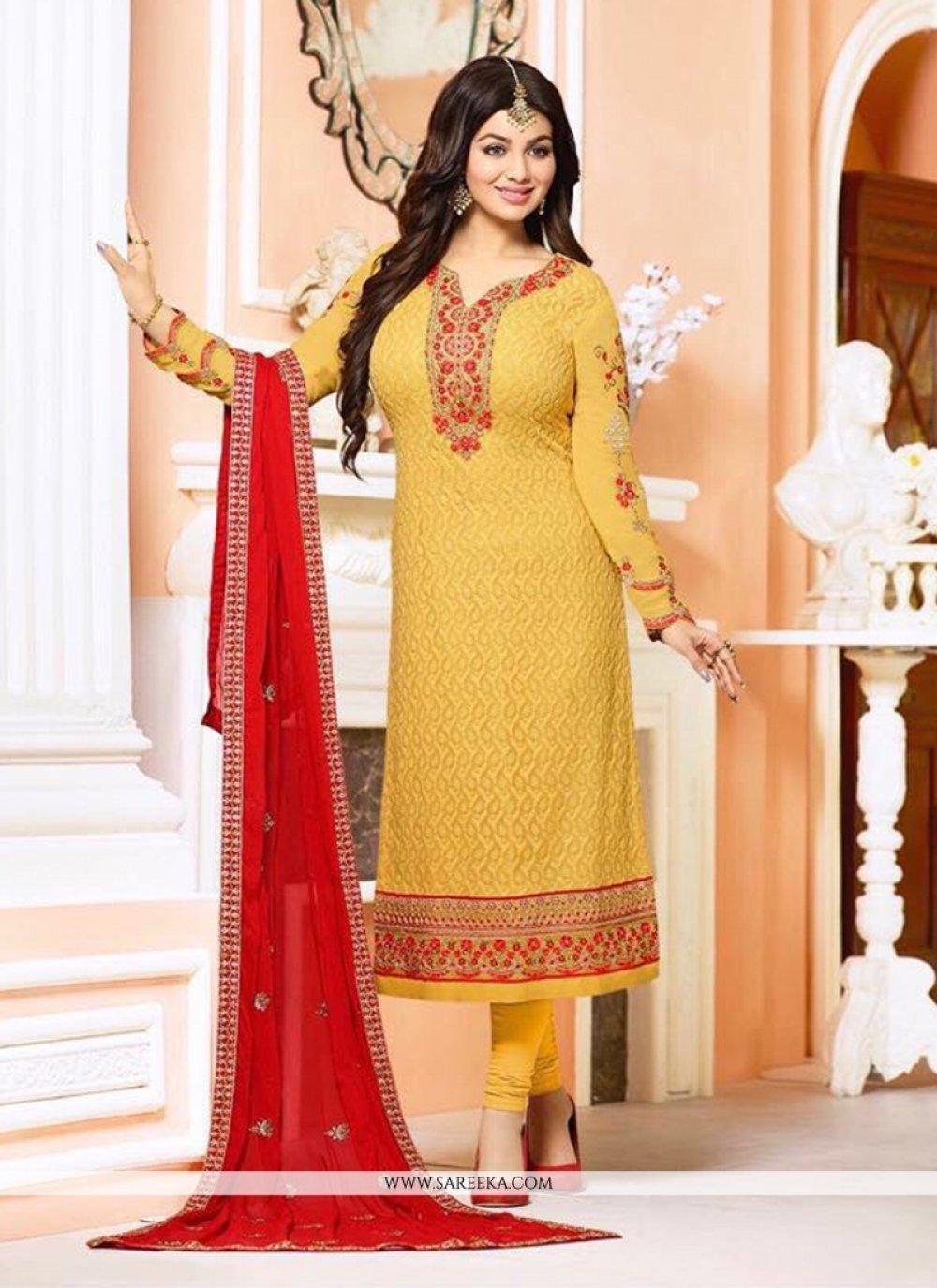 Ayesha Takia Resham Work Mustard Churidar Designer Suit