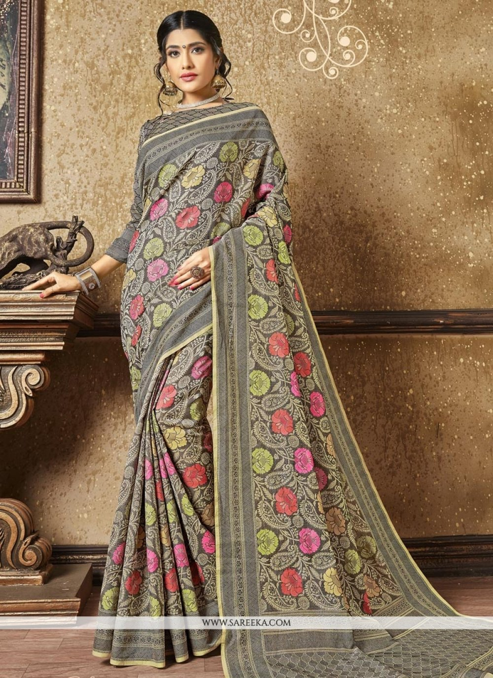 Banarasi Silk Grey Designer Traditional Saree