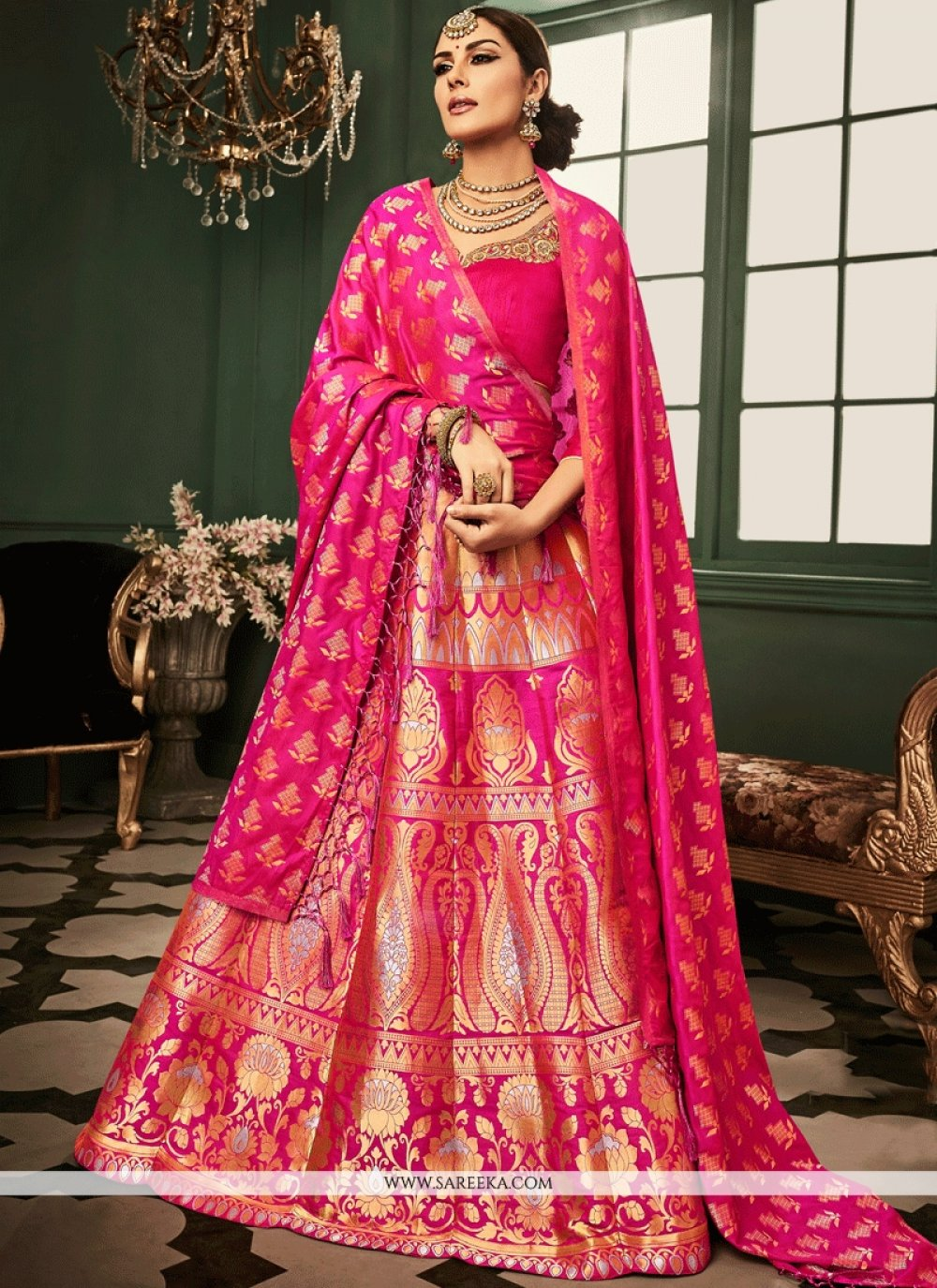 Banarasi Silk Hot Pink Weaving Work Lehenga Choli