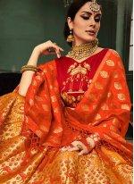 Banarasi Silk Orange and Red Lehenga Choli