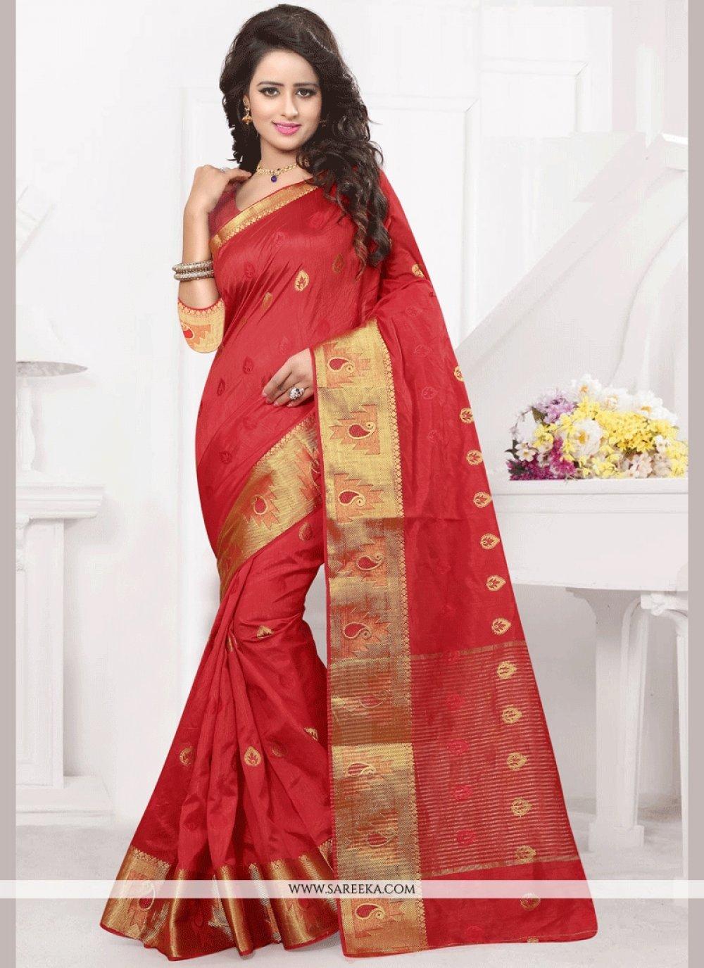 Banarasi Silk Red woven Work Designer Traditional Saree