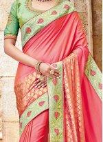 Banarasi Silk Rose Pink Embroidered Work Designer Traditional Saree