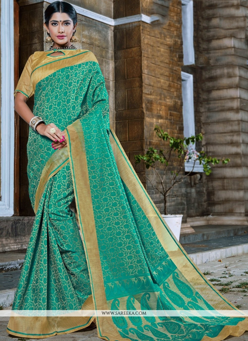 Banarasi Silk Sea Green Designer Traditional Saree