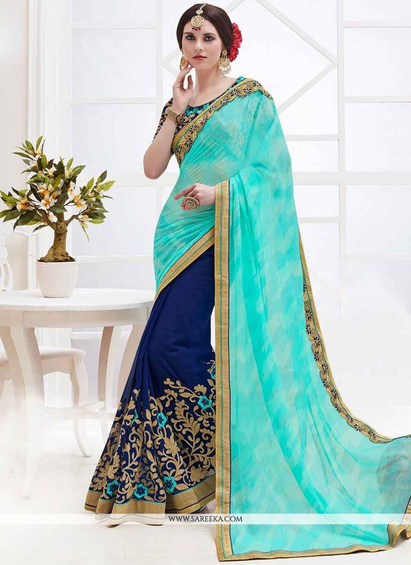 Embroidered Work Faux Georgette Half N Half  Saree