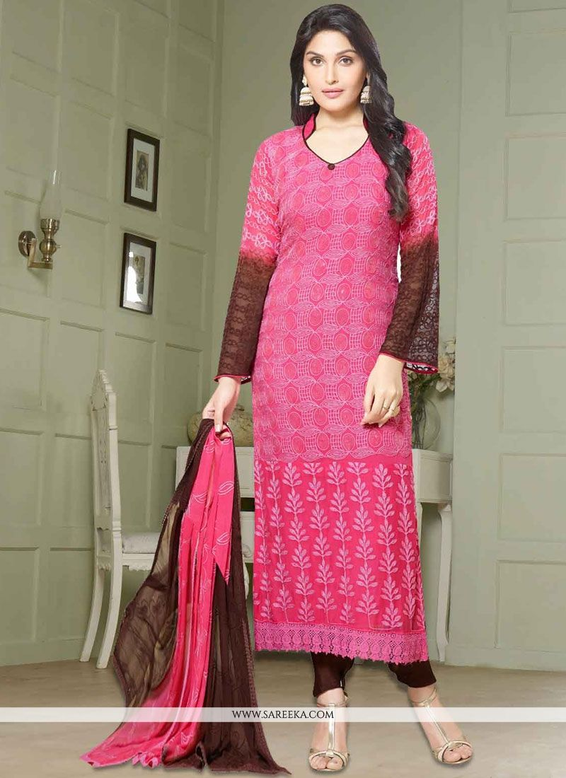 Embroidered Work Pink Faux Chiffon Churidar Suit