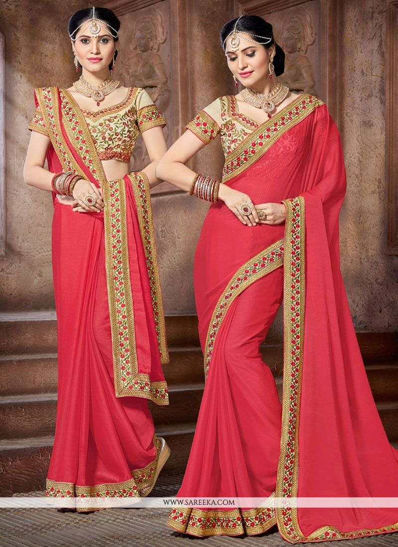 Pink Patch Border Work Faux Chiffon Classic Saree
