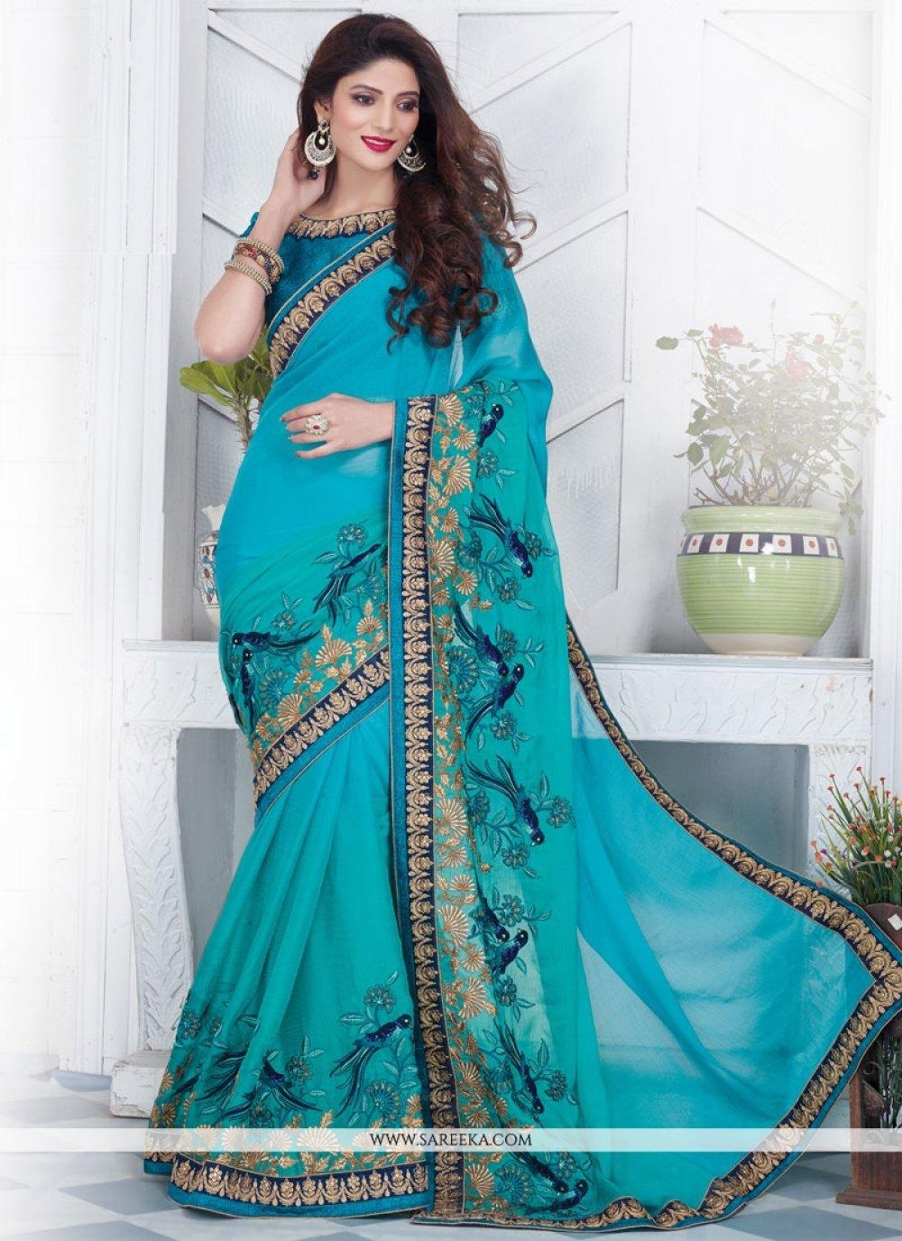 Resham Work Blue Designer Saree