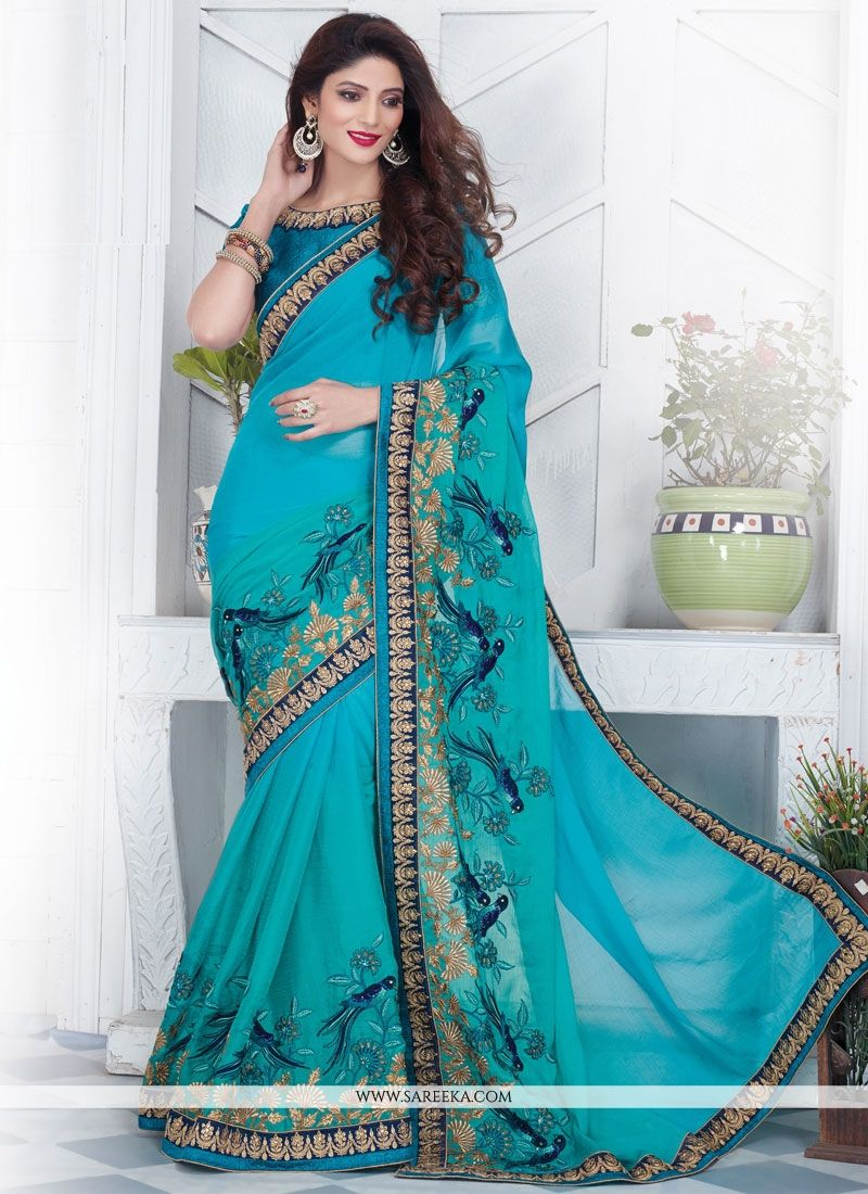 Resham Work Blue Designer Saree