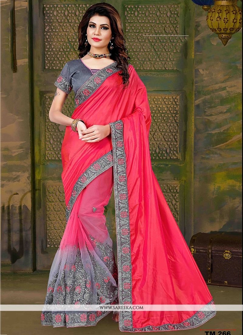3d816bf68003 Buy Art Silk Grey and Hot Pink Patch Border Work Traditional Saree Online    South Africa -